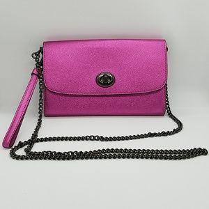 COACH Metallic Leather Chain Xbody bag